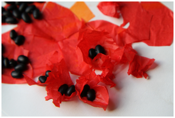 Poppy inspired paper tissue collages for kids