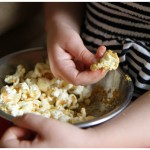 Favorite popcorn recipe with nutritional yeast, coconut oil, and fax seed oil