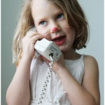 Five year old daughter (pretend) talking on the phone